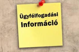 Tájékoztatás - módosul az ügyfélfogadási időpont